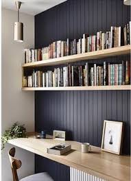 office shelf ideas. Dark Feature Wall With Natural Wood Shelving To Highlight. Beadboard Panelling. Office Shelf Ideas I