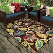 orian rugs indoor outdoor fl basil brown area rug 5 2 x 7 6