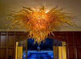 multi color blown glass chandelier