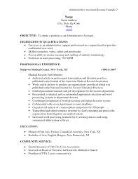 Resume Template Medical Administrative Assistant Objective With