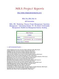 Mba Project Reports In Operations Download
