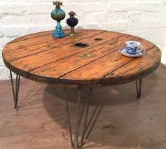 hairpin coffee table diy hairpin leg console table fresh industrial rustic shabby chic cable reel drum