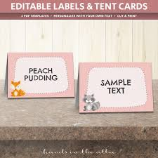 Table Labels Template Woodland Animals Table Tent Cards Template