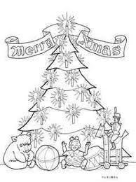 くまさん人形ボールなどプレゼントとクリスマスツリーの塗り絵の下絵