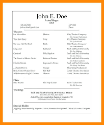 How To Make A Theatre Resume Awesome Musical Theatre Resume Template Musical Theatre Resume Template