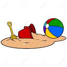 Beach ball in sand Summer Beach Ball And Sand Bucket Vector Illustration Of Beach Ball And Sand Dreamstimecom Beach Ball And Sand Bucket Vector Illustration Of Beach