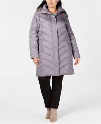 Plus Size Faux Fur Trim Hooded Puffer Coat