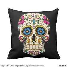 Design A Sugar Skull Online Day Of The Dead Sugar Skull With Cross Pillow Zazzle Com