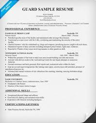 security guard resume no experience security guard resume sample security guard sample resume