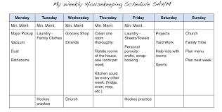 My Weekly Schedule My Weekly Housekeeping Schedule Print Household Stuff Cleaning