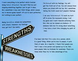 Strengths And Weaknesses Resume Resume For Your Job Application