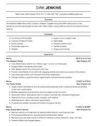 Nanny Resume Samples Templates Examples Of Resumes Sample Cv Cover