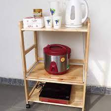 Kệ Lò Vi Sóng ❤FREESHIP❤ 3, 4 Tầng Có Bánh Xe Gỗ Cao Su Tự Nhiên Siêu Bền -  Kệ để đồ nhà bếp