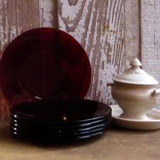 vintage anchor hocking ruby red depression glass bread plates s
