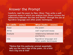 ap answering the prompt a guide to on demand writing ppt  3 answer the prompt do skills verbs what tasks nouns readthe poem writewell organized essay analyzerelationship between tree and family usefigurative
