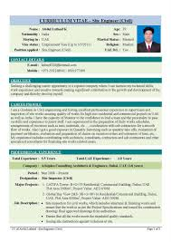 Engineer Curriculum Vitae Template Free Resume Templates Nice