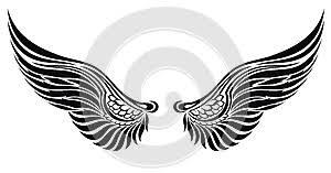 Ilustrace25549489 Andělská Křídla Izolované Na Bílém Tetování