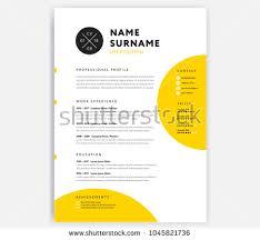 Yellow Cv Resume Template Curriculum Vitae Stock Vektorgrafik