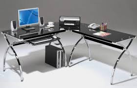 glass office tables glass computer desk with keyboard tray glass computer desk modern black gloss rectangle home office desk
