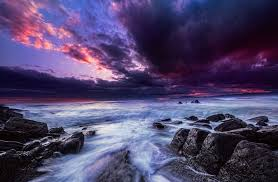 Purple Ocean Sunset Wallpaper And Background Image