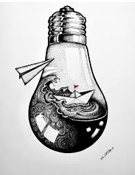 Dotwork Light Bulb With Boat Pen And Ink In 2019 Art Drawings