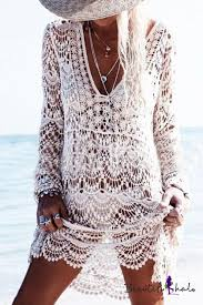 <b>Sexy Lace</b> Hollow Out Plunge Neck Long Sleeve Plain Outdoor ...