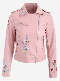 fl patched zippered faux leather jacket pink s