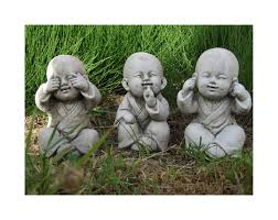 buddha monk set speak see hear no evil garden ornament