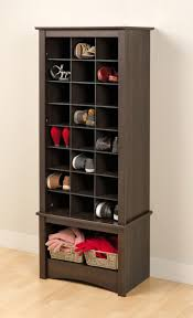 decoration, Elegant Style Of Wooden Vertical Shoe Storage Painted In Cool  Brown And Designed Using