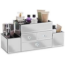 Beautify Large Mirrored Glass Jewelry Box and Cosmetic Makeup Organizer  with 3 Drawers and 9 Sections