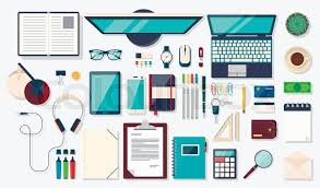 designer office desk isolated objects top view. flat design modern vector illustration top view of desk background with laptop digital devices office objects books and documents stock designer isolated e