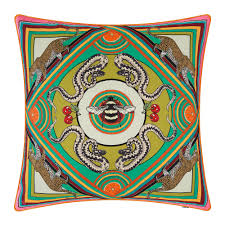Trippy Outdoor Lights Trippy Town Pillow 45x45cm Green
