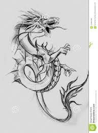 Dragon Lizzard Tattoo Sketch Handmade Design Over Vintage Paper