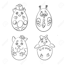 Set With 4 Cute Animals In A Shape Of Easter Eggs For Coloring