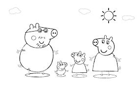 Peppa Pig E Famiglia Nel Fango Disegno Da Colorare Gratis Disegni