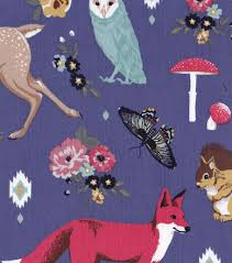 Joann Fabrics Patterns Stunning Doodles Collection Fabric Majestic Cord Woodland Animals Blue JOANN