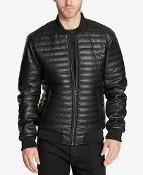 GUESS Men's Quilted Faux-Leather Bomber Jacket - Coats & Jackets ... & GUESS Men's Quilted Faux-Leather Bomber Jacket Adamdwight.com