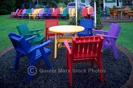 painted wood patio furniture. Upper LaHave, NS, Nova Scotia, Canada - Colorful Painted Wood Patio Furniture And