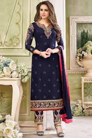 Images Of Designer Party Wear Salwar Kameez Georgette Party Wear Salwar Suit In Navy Blue With Embroidery Designs