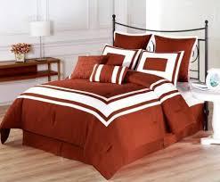 full queen cal king bed burnt orange white