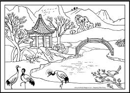 Chinese Coloring Page Bridge And Cranes Chinese Coloring Pages