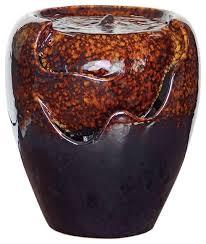 burnt umbra ceramic jar fountain