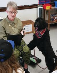 Therapy dogs take on reading week at Barrows   RhodyBeat