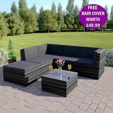 on 6 piece barcelona modular rattan corner sofa set in dark mix grey with dark cushions includes