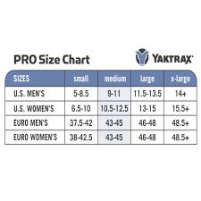 Yaktrax Pro Size Chart Yaktrax Pro Ice Traction Cleats Xlarge