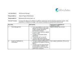 Property Manager Job Description Samples Maintenance Job Description Template Property Manager Job