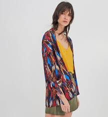 patterned kimono jacket dark red prints