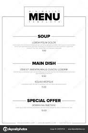 Restaurant Menus Layout Modern Minimalistic Restaurant Menu Template Design Layout