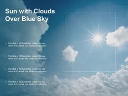 Sun With Clouds Over Blue Sky Ppt Powerpoint Presentation