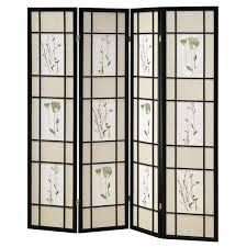 shoji screen botanical black 4 panel bi fold closet doors